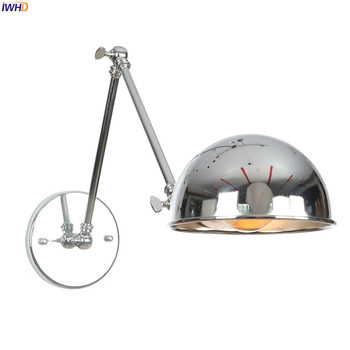 IWHD Silver Loft Style Vintage LED Wall Lamp Bathroom Bedroom Retro Adjustable Swing Long Arm Wall Light Edison Aplique Pared bedroom light study wall lamp iron long arm rocker wall lamp bedside light industrial style adjustable wall light bathroom