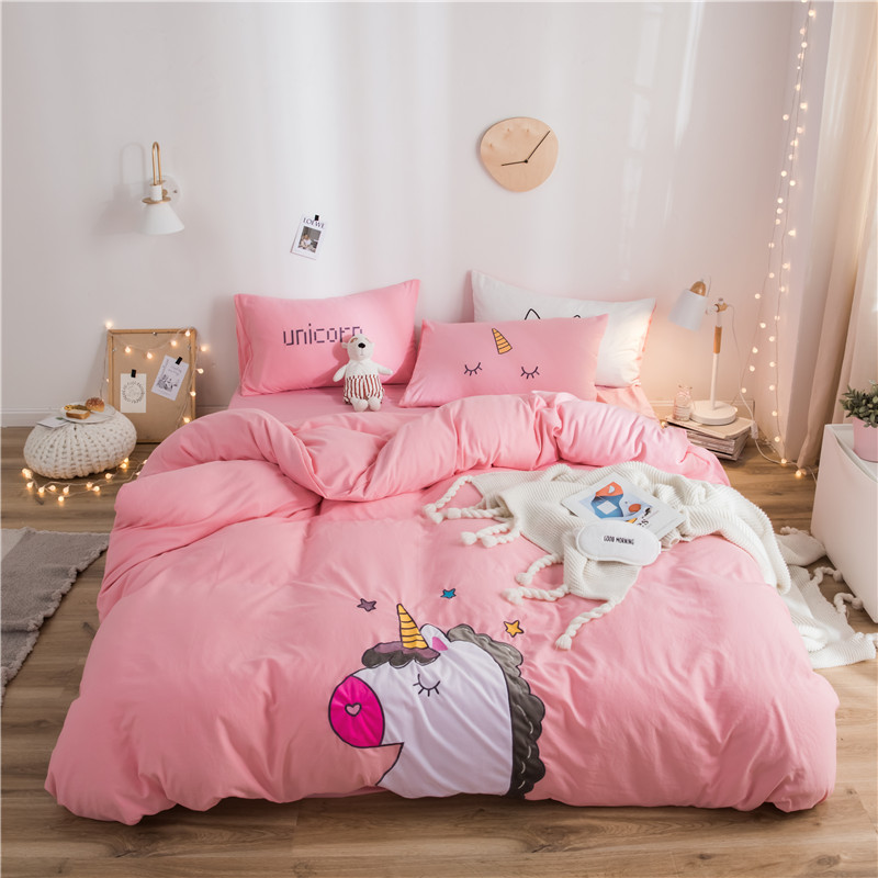 Cartoon Unicorn Cat Rabbit Pig Panda Embroidery 100% Washed Cotton Bedding Duvet Cover Bed Sheet/Linen Pillowcase Gift For Child