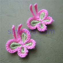 Fabric-Flowers Scrapbooking Hand-Crafts Crocheted Applique Sewing Butterfly Cotton DIY