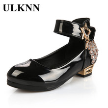 ULKNN Red Low Heel Shoes For Girls Princess Leather Shoes Da