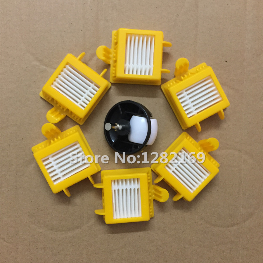 6x HEPA Filters and 1x Caster Assembly Front Castor wheel Replacement For iRobot Roomba 700 Series 760 770 780 790 fn372 6 21 filters beads and chips mr li