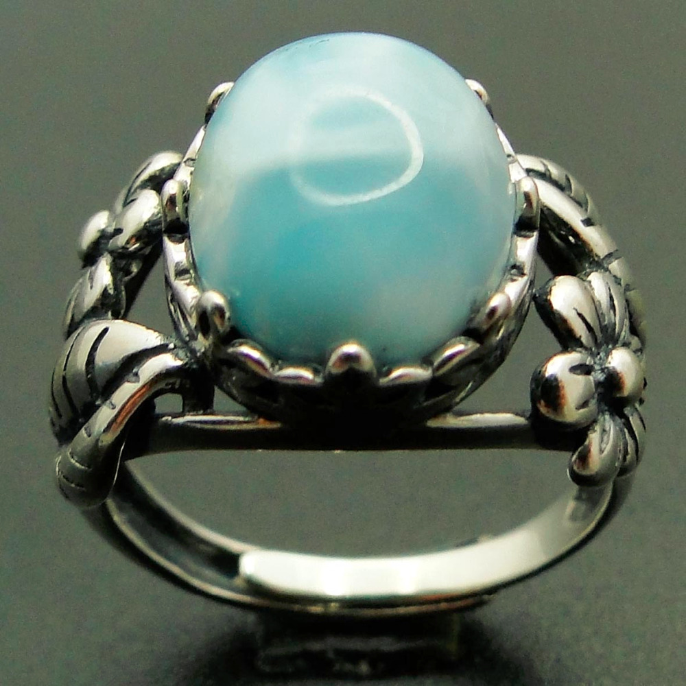 10X12MM Stone Rings Natural Real AAA Quality Blue Larimar Gemstone Woman Rings 925 Sterling Silver Wedding