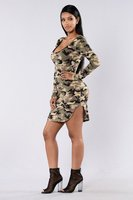 2017 Azises for Ladies Sexy Camouflage printing O Neck Elgant Bandage Dress Long Sleeve Casual Patchwork Vestido Mujer Club Wear