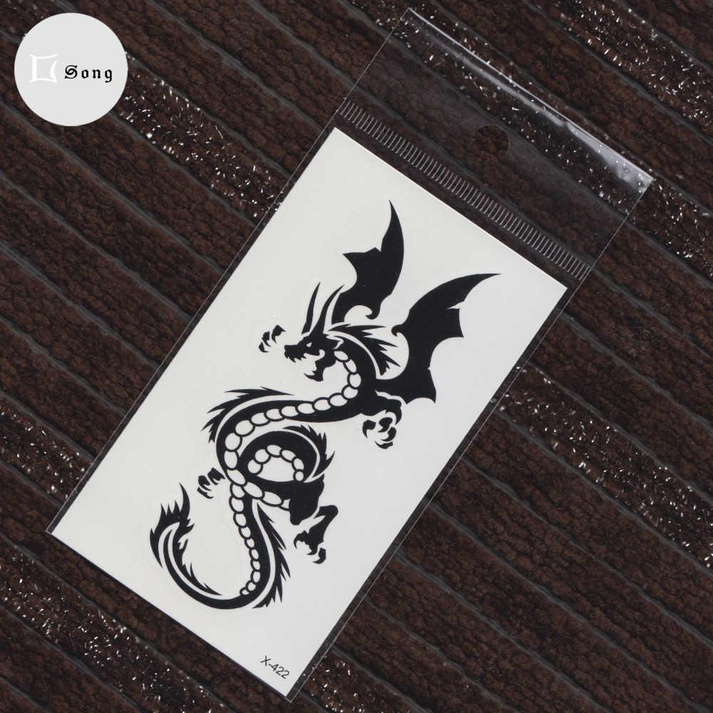 Etiqueta temporária à prova dwaterproof água transferência falsa tatuagem homem mulher corpo arte dragão preto totem tatuagens adesivos legal maquiagem