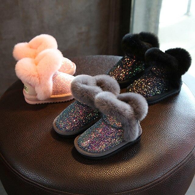 eb1bac874cce2 Bling Sequin Filles Bottes D hiver Chaussures Pour Filles Rose Bottes  Enfants Neige Bottes En
