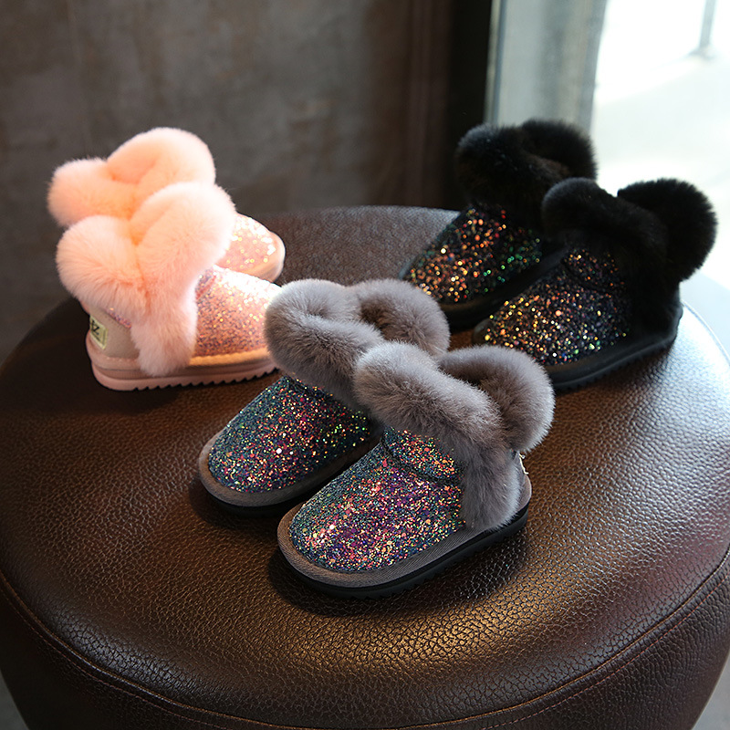 Bling Sequin Girls Boots Winter Shoes For Girls Pink Boots Children Snow Boots Rubber Boots For Baby Girls
