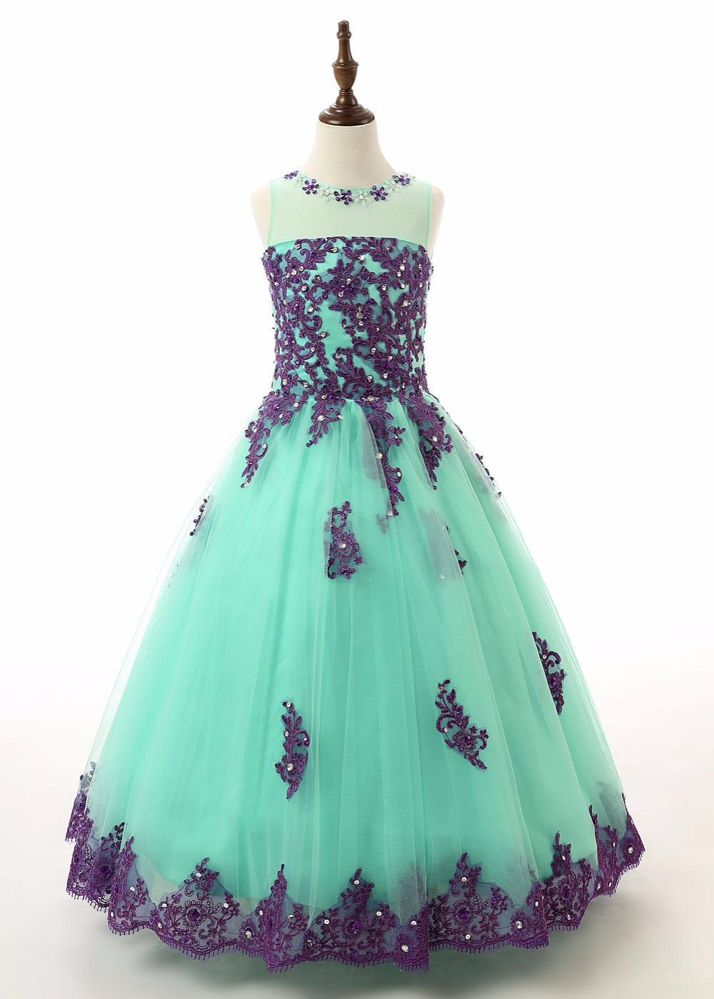 on sale Beads Appliques Kids Birthday Party Prom Dresses HiLo