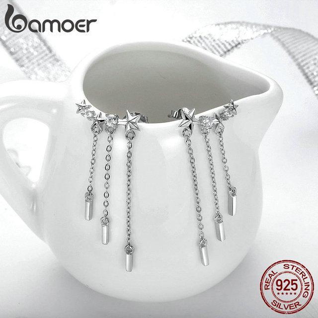 925 Sterling Silver Long Chain Star Dazzling CZ Drop Earrings for Women