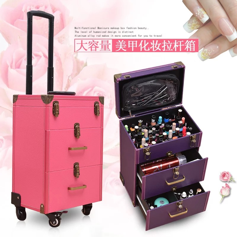 Trolley Suitcase Wheel Bag-Girls Rolling-Luggage Nail-Tattoo Women New With Multilayer