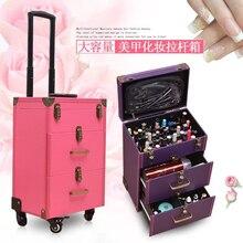 Nieuwe Nail Tattoo Rolling Bagage Tas Meisjes Multifunctionele Trolley Koffer Vrouwen Multilayer Hoge Kwaliteit Cosmetische Case Met Wiel