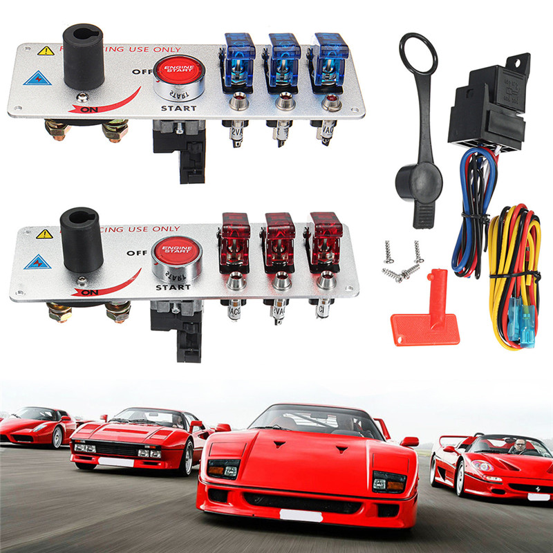 Image 5 - New High Quality Durable Strong Convenient 12V Auto LED Toggle Ignition Switch Panel Racing Car Engine Start Push Set Kit#294386-in Car Switches & Relays from Automobiles & Motorcycles