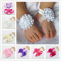 1 Pair of Baby Infant Newborn Girl Toddler Foot Flower Floral Elastic Band First Walkers #10