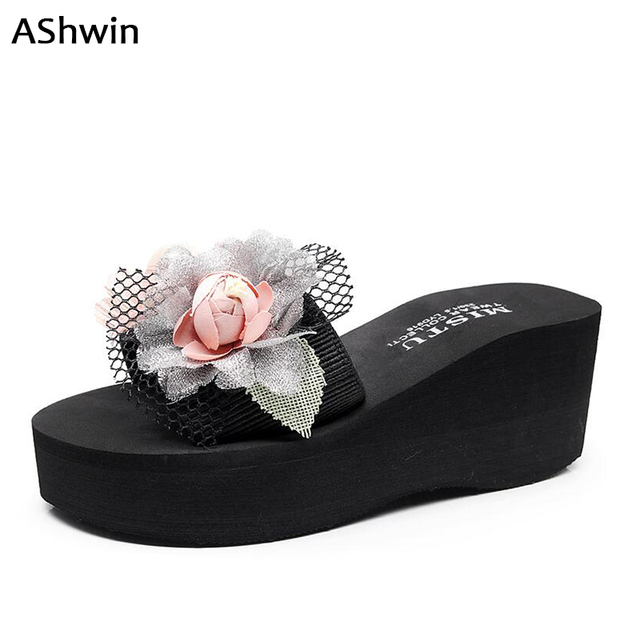 AShwin summer sandals women beach slippers wedge platform flower pearls shoes  slides mules clogs high heels lace shoes outdoor f9a47bcea4ae