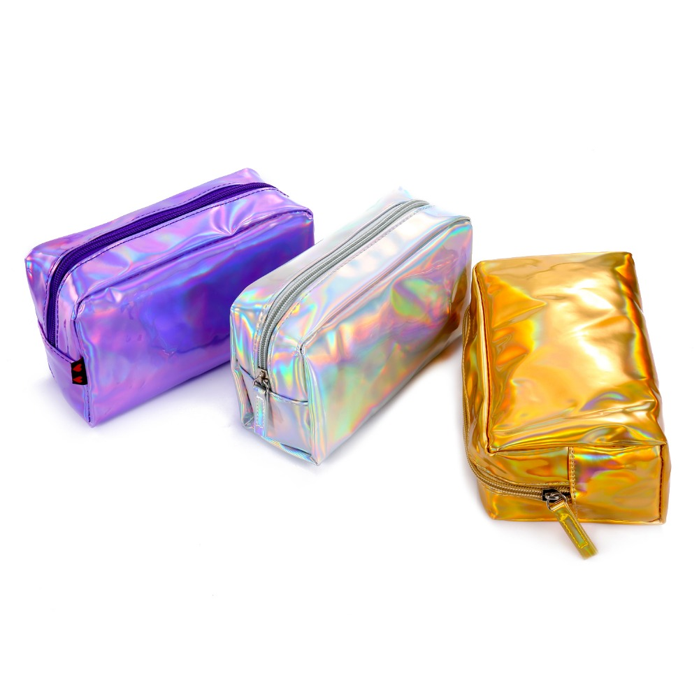 Nesesser Women Travel Cosmetic Bags Laser Pu Makeup Brush Pouch Toiletry Organizer Storage Bag Portable Holographic Beauty Case