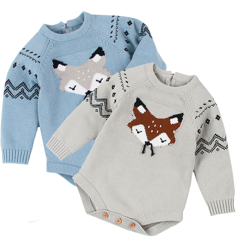 Spring Funny Body Suits Clothes For Child Boys Jumpsuits Fox Knitted Newborn Girls Coveralls Long Sleeve Toddler Kids Clothing