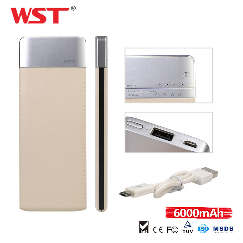 WST New Style Ultra Thin Slim <font><b>Power</b></font> <font><b>Bank</b></font> <font><b>6000mAh</b></font> USB External Patchwork Battery Charger PowerBank for <font><b>Xiaomi</b></font> Samsung iPhone image