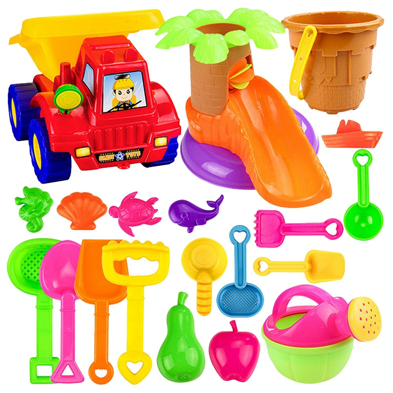 20Pcs Funny Kids Beach Sand Game Toy Set Shovels Castle Rake Hourglass Bucket Children Beach Play Set Role Play Toy Kit