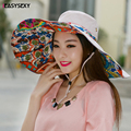 iEASYSEXY 2017 Bohemian New Style Sunscreen Summer Sunshade Hat Women National Wind Three Colors Casual Painted Inside Sun Hats