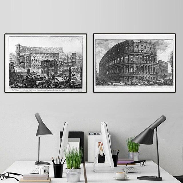Framed art Classic super narrow aluminum A4 or  A3 poster frame + art prints of Piranesi The Colosseum office wall decor