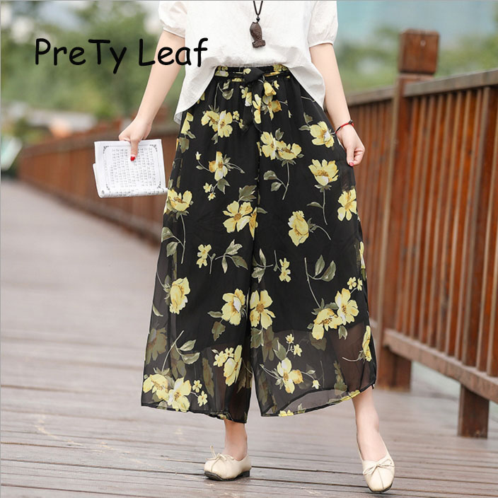 2019 ethnic style printed loose   wide     leg     pants