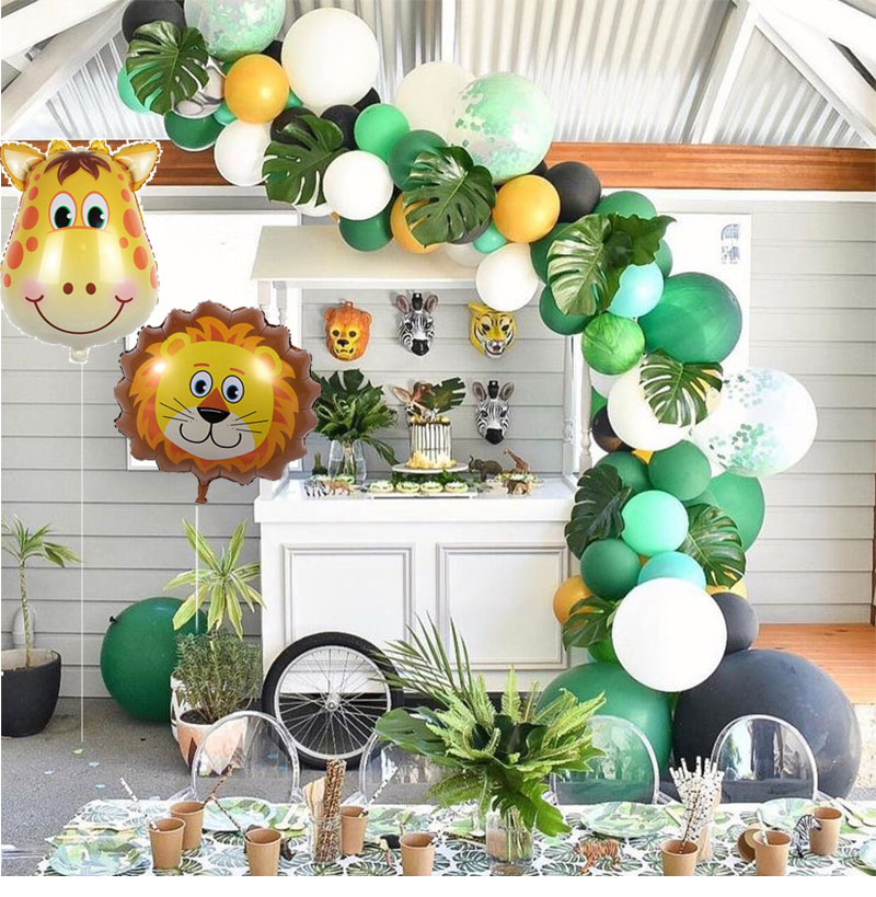 Decoracion Para Fiesta De Baby Shower.Us 4 64 35 Off Safari Party Supplies Animal Balloons Arch Jungle Zoo Party Decorations Adult 1st Birthday Happy Banner Baby Shower In Ballons