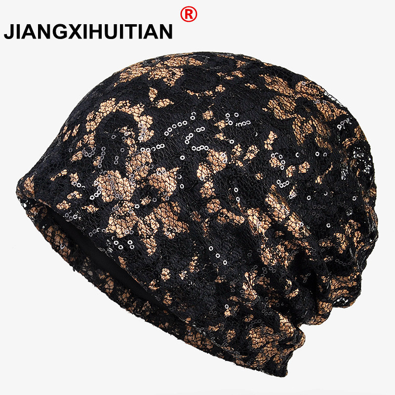 2018 New Thin Lady Lace Turban Hat Female Summer Sequins   Skullies   Breathable Cap Women's   Beanies   Bonnet For Girls