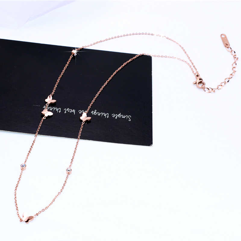 YUN RUO 2018 New Arrival Rose Gold Color Fashion Crystal Butterfly Chain Necklace Titanium Steel Jewelry Woman Gift Never Fade