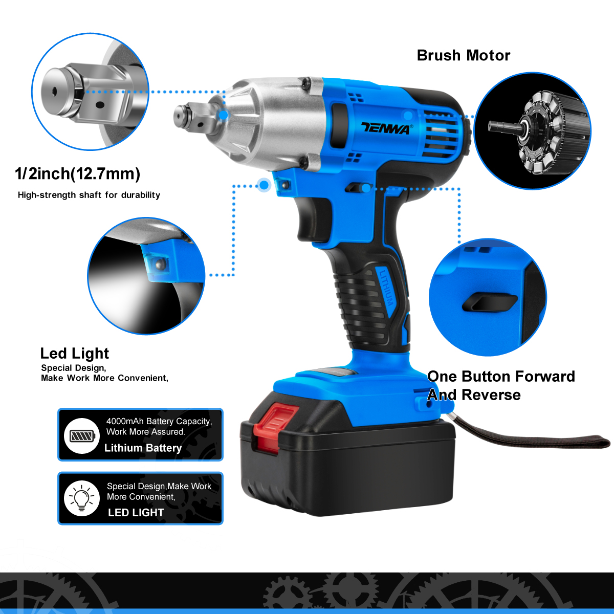 Image 4 - TENWA Brushless Electric Wrench 21V Impact Wrench Socket   4000mAh Li Battery Hand Drill Installation Power Tools-in Electric Wrenches from Tools on