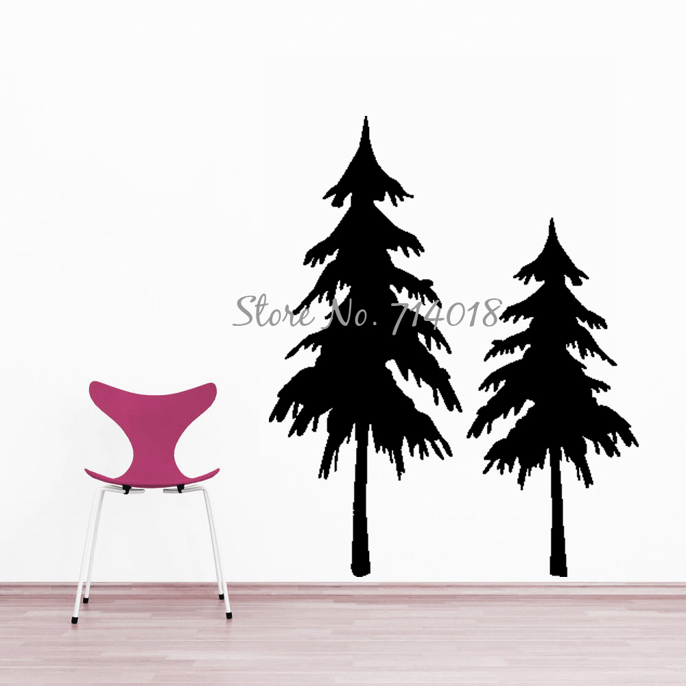 Double Christmas Trees Wall Decals Happy New Year Festival Party Decal Living Room Home Decoration Decor Vinyl Art Murals M69