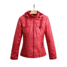 Red Leather jacket,Pu Leather Jacket feminine,style Winter outerwear,autumn Leather Jacket feminine,women jackets,coat TT1653