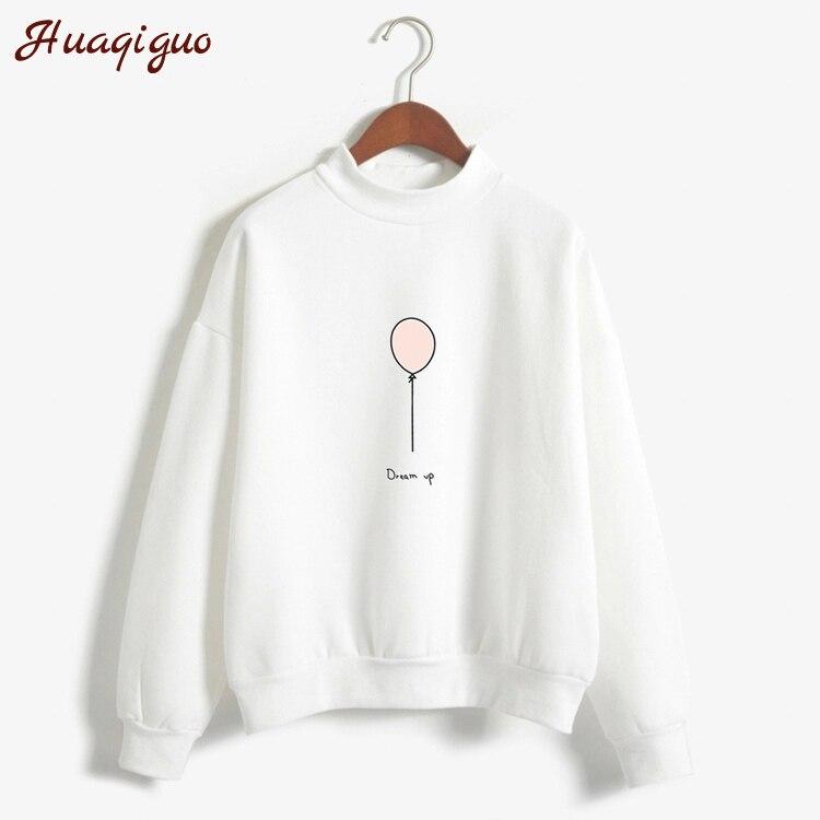 Sudadera de mujer otoño Harajuku estilo encantador globo letras impreso polar invierno sudaderas cuello tortuga colores Pastel chándal