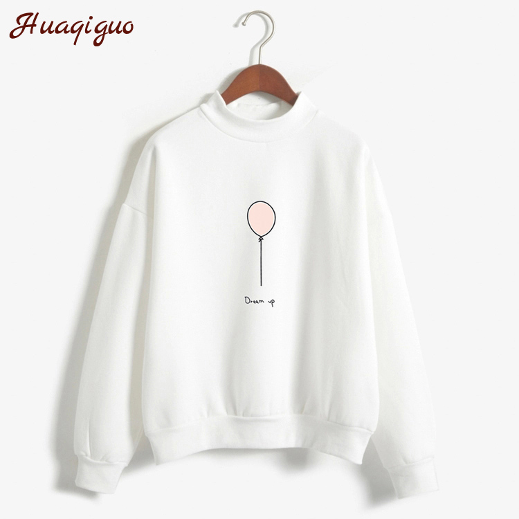 Women Sweatshirt Autumn Harajuku Style Lovely Balloon Letters Printed Fleece Winter Hoodies Turtle Neck Pastel Colors Tracksuit