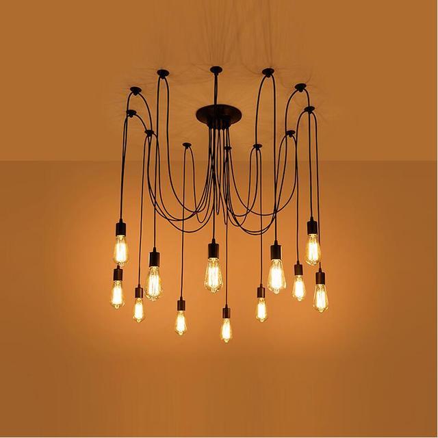 Vintage Black Spider Cable Edison Bulb E27 8 10 12 14 G80