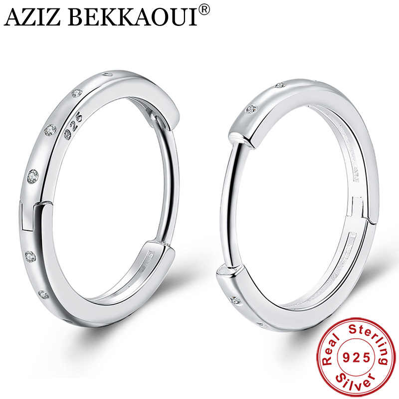 AZIZ BEKKAOUI Simple Style Real 925 Sterling Silver Hoop Earrings for Women Fashion Silver Jewelry Bijoux Lovely Gift