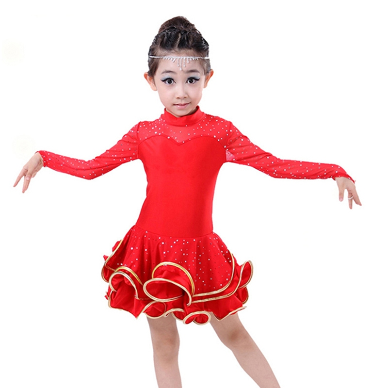 Children Latin Dance Dress Long Sleeve Lace Sequin Vestido Kids Latin Dresses Girl Stage Performance Dancing Dress Latino dance party bling sequin beige ruffle one piece dress kids girl 2 8y pd049