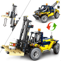 602pcs 2in1 City Engineering Forklift Building Block Brick Compatible Legoingly Technic Toy Construction Crane Gift For children