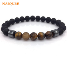NAIQUBE 2018 Fashion New Men Jewelry 8mm Matte Bead with Column Hematite Bracelet For women Men charm Jewelry Gift(China)