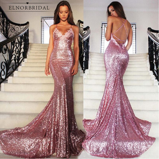 Rose Pink Sequins Mermaid Prom Dresses 2019 Robe De Bal Backless Special  Occasion Party Dress Sexy V Neck Formal Gowns c5f48ff8d1a7