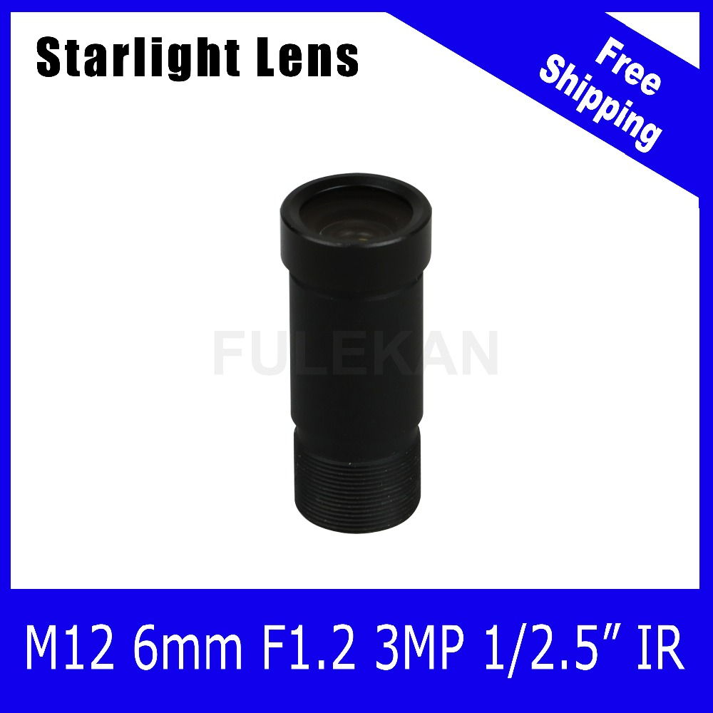 Starlight Lens 3MP 6mm Fixed Aperture F1.2 For SONY IMX290/IMX291 IP Camera Free Shipping starlight lens 3mp 4mm fixed aperture f1 5 for sony imx290 imx291 ip camera free shipping