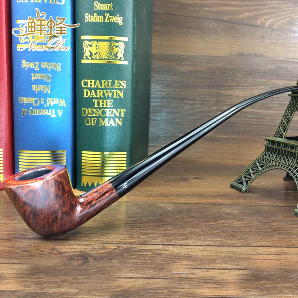RU NewBee Long Stem Imported Briar Wood 9mm Filter Bent Tobacco Pipe for Reading Gift aa0027