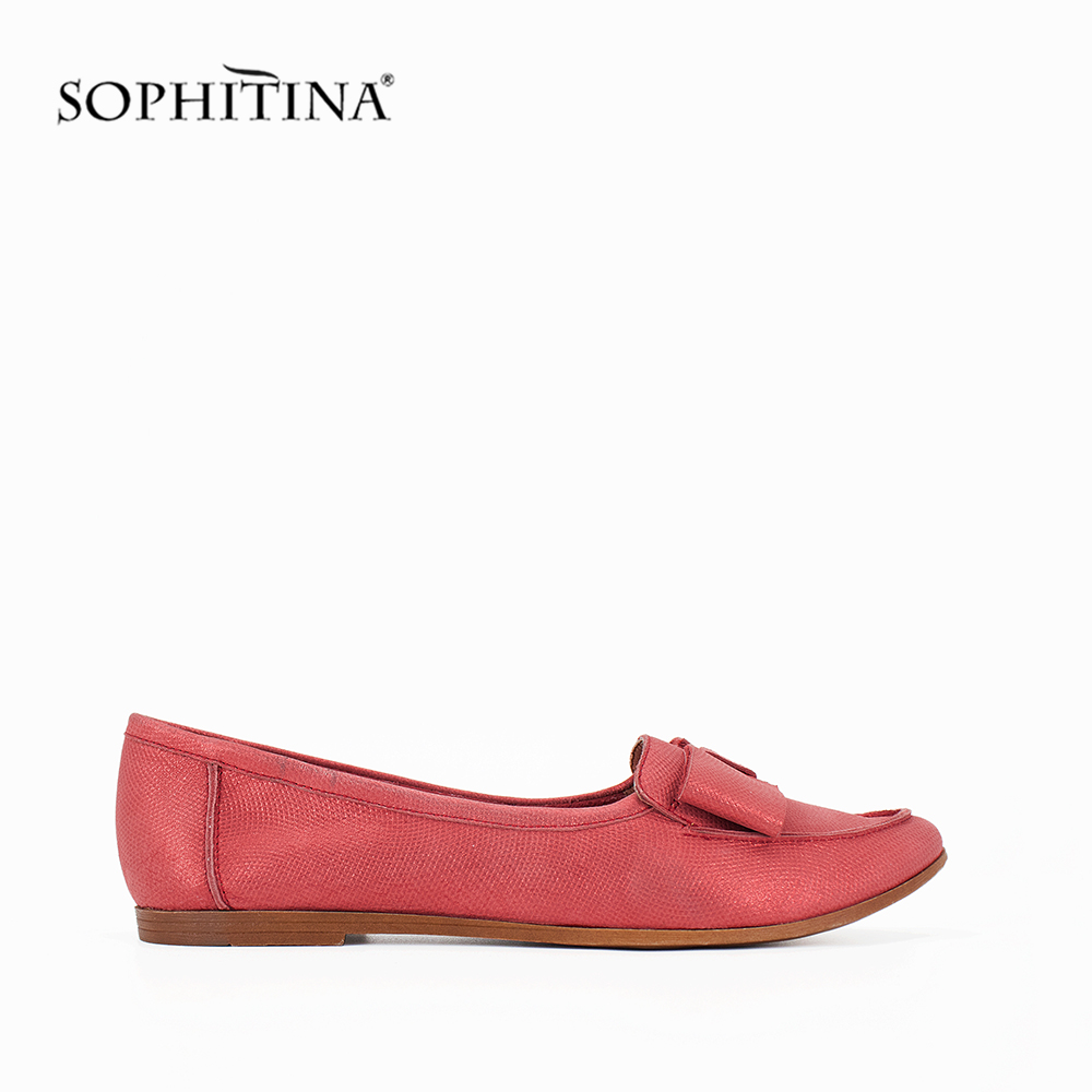 SOPHITINA Handmade Genuine Leather Flats Soft Comfortable Boat Shoes New Fashion Slip on Flower Round Toe