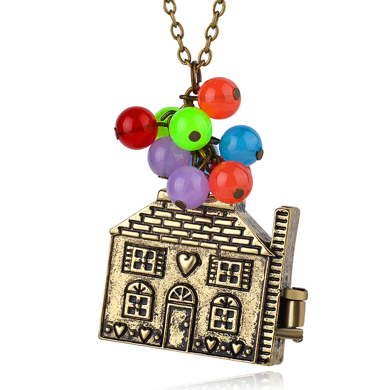 Euro Ameican Movie Jewelry The Adventures of Flying House Necklace Vintage Bronze Chain Necklace For Women