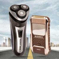 100 240V Kemei Electric Shaver Men Razor Beard Trimmer Haircut 3D Triple Floating Blade Heads Shaving