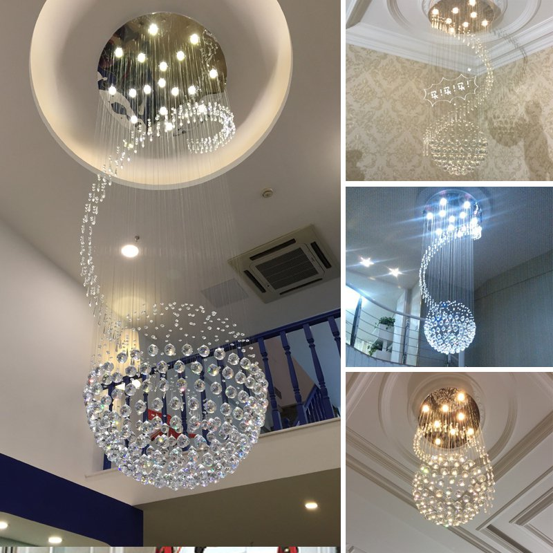 Crystal Chrome Round Top Stair Case Ceiling Light Dining Room Ceiling Lamp Luxury Restaurant Ceiling Hanging Lights