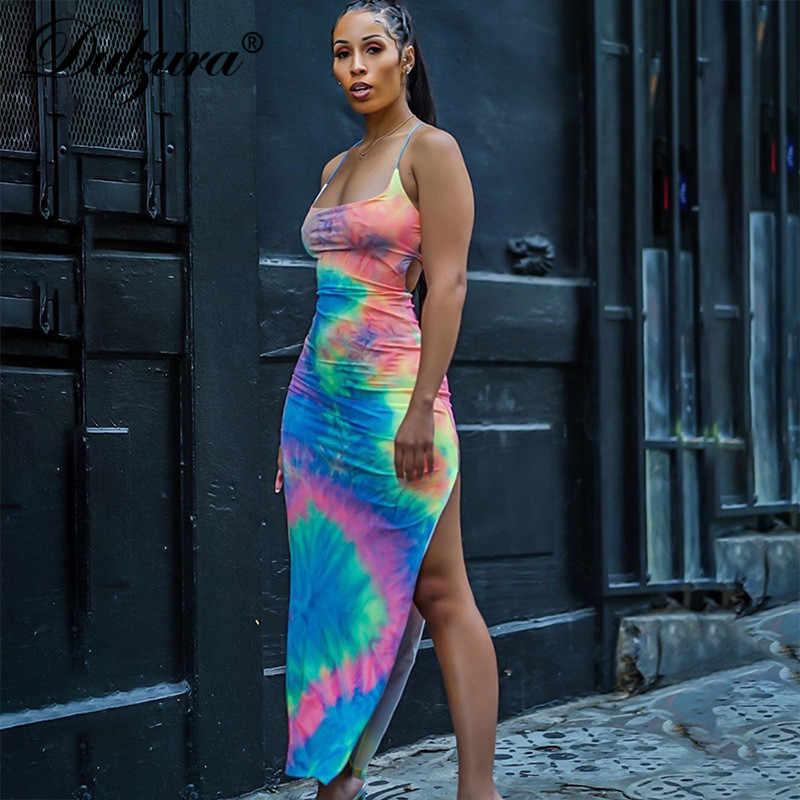 Dulzura 2019 летнее женское длинное платье Бандаж с открытой спиной сексуальное облегающее платье для вечеринки праздничная одежда элегантная уличная одежда с разрезом