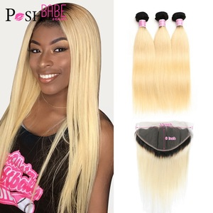 POSH BABE 1B 613 Honey Blonde Ombre Colored Weave Brazilian Straight Human Hair Weft 2 3 4 Bundle with 13*6 Lace Frontal Closure(China)