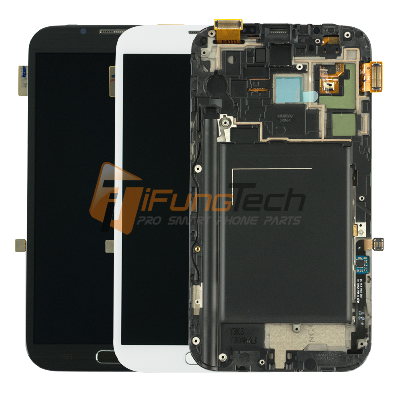 Free DHL 10pcs original For Samsung Note 2 N7100 LCD Display Touch Screen Digitizer Assembly With Frame Replacement  цены