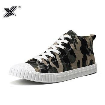 X-zapatos informales vulcanizados para hombre, calzado de Lona con pintura verde militar,...