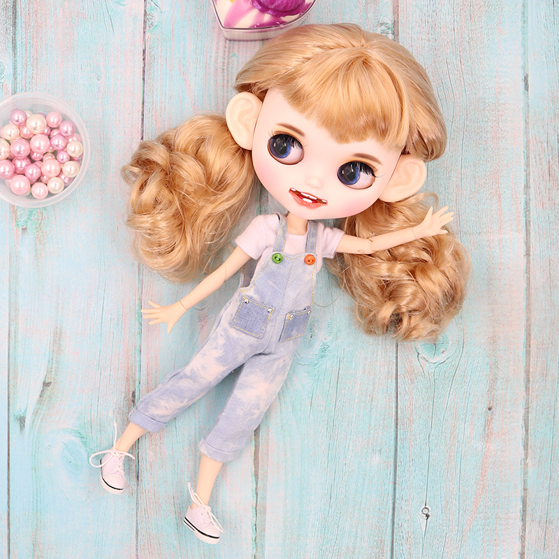 Blythe Nude Doll from Factory Light Gold Straigh Hair Eyebrow Smile Mouth+Teeth