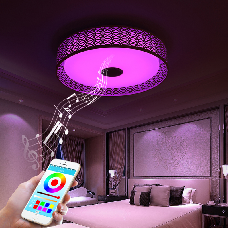 Modern Bluetooth Speaker LED Ceiling Light Remote Control RGB LED Music Lamp Dimmable Living Room Lighting lamp Smart APP - 2